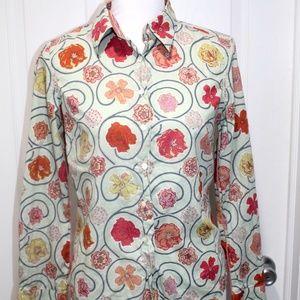 Robert Graham Button-Up Shirt Top Blouse Floral S
